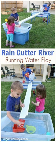 It's no secret that my kids love water play – we have posted many water activities over the years! Kids are drawn to water like ants to a picnic, and I've found that a good water play activity will keep them busy for a long time. Running water is even mor Outdoor Water Activities, Outdoor Learning, Summer Activities, Outdoor Preschool Activities, Playgroup Activities, Family Activities, Stem Activities, Outdoor Classroom, Play Spaces