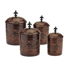Handcrafted by skilled artisans, these Old Dutch Versailles Antique Copper Canisters feature a durable stainless steel construction with copper plating. An embossed fleur-de-lis pattern and fresh seal covers highlight these canisters.