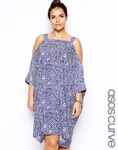 ASOS CURVE – Kleid mit Schulterausschnitt und Paisleymuster