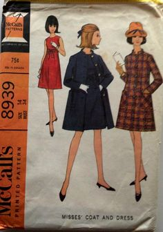 McCall's 8939 1967; Misses' Coat and Dress. Sleeveless high waisted dress and single breasted coat with long set-in sleeves. Dress skirt and bodice are dart fitted in front and back. Neck and armholes are faced and neck is interfaced. Dress has center back zipper and is worn with self-fabric belt tied in bow at front and held by thread carriers. Lined coat, with bias standing collar included in neck facing seam, has lined, bias, patch pockets, extending beyond side seams. Collar