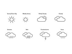 Linear Weather Icons by Melissa Furdal