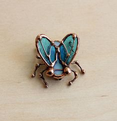 Blue Fly stained glass Brooch handmade in Tiffany technique. Fly Pin is Perfect as a gift for kids and adults, a bright and funny colour detail for your clothes or bags. Insect brooch is suitable for both adults and children . This is Good idea for Mothers day gift or Birthday