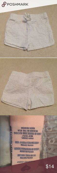 Celebrity Pink sz 2T white eyelet lace shorts EUC Celebrity Pink size 2T girls white eyelet lace shorts with elastic waistband. Very adorable, however they fit a little large. They fit my daughter better at 3 than 2. They may fit well on a 2 with a diaper though. Either way they are very cute and easy to style! Like new! Smoke free dog friendly home. Will gladly answer any questions! Feel free to make an offer or bundle for a private offer! ✌🏼💁🏼 Celebrity Pink Bottoms Shorts