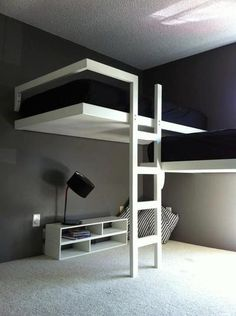 "Modern loft beds are hard to find in a world filled with amazing furniture options.This is the reason we arranged a list of Modern loft bed Ideas"" Modern Bunk Beds, Cool Bunk Beds, Kids Bunk Beds, Modern Loft, Modern Kids, Beds For Boys, Modern Bedrooms, Twin Boys, Trendy Bedroom"