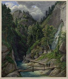 """Eduard Gurk, Beim """"Toten Weib"""" in der Frein (Guckkastenblatt), 1834 © Albertina, Wien Vintage Travel, Installation Art, Travel Around, Austria, Street Art, River, History, World, Artist"""