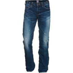 Prps Barracuda Straight Used Straight Leg Jeans In Used Look (£260) ❤ liked on Polyvore featuring jeans, men, marshall hudson, mens pants, menswear, pants, ripped jeans, blue distressed jeans, blue jeans and slim jeans
