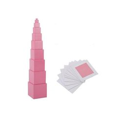 Pink Tower With Card Montessori Material Creative Sensor Kid Educational Toy For Preschool Teaching Aids Family Children Toy