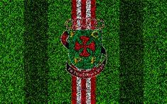 Download wallpapers FC Pacos de Ferreira, 4k, logo, football lawn, Portuguese football club, red white lines, Primeira Liga, Pacos de Ferreira, Portugal, football, Ferreira fc