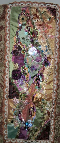 Three Block Crazy Quilt Wall Hanging    featuring her curved piecing method ~By Victoria Adams Brown ~ Using Ribbonsmyth's Embellishments & trims