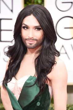 Pin for Later: See Every Single Stunning Beauty Look From the Golden Globes Conchita Wurst Conchita gave us a serious smize on the red carpet thanks to a dramatic set of false lashes. Golden Globe Award, Golden Globes, Blond, Well Groomed Beard, French Maid Dress, Bearded Lady, Queen Makeup, Look Plus, Models