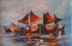 Kunstbild Schiffe bei Sonnenuntergang