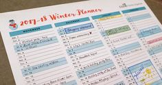 See the entire winter season on one sheet! Use the Printable Winter Planning Calendar to see your 2017 and 2018 winter events in one place, like no-school days, holiday events, vacations, and the first day back to school in January.