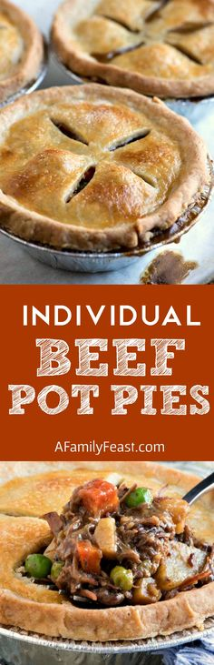 Individual Beef Pot Pies - Make up a batch of these hearty beef pot pies and bake right away or freeze to eat later! Delicious time saving recipe!