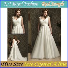 2014 New Arrival Plus sizes Lace Exquisite self-cultivation crystal A Line Wedding Dresses Free Shipping! US $178.56