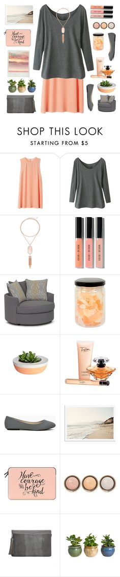 """""""top set peach & grey"""" by tinkertot ❤ liked on Polyvore featuring Kendra Scott, Bobbi Brown Cosmetics, Lancôme, Casetify and By Terry"""