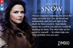 Try the quiz to figure out wich once apon a time character you are. I got Snow White