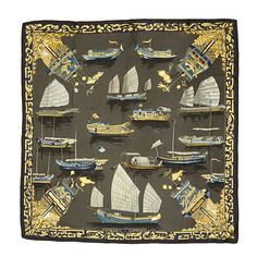 Hermès Vintage 'Jonques et Sampans' scarf | From a collection of rare vintage scarves at https://www.1stdibs.com/fashion/accessories/scarves/