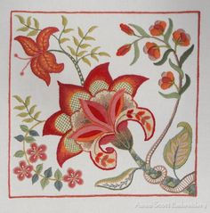 Gorgeous crewel embroidery by Anna Scott! Click through for close-ups and detail photos.