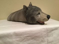 VINTAGE 1994 MASK ILLUSIONS LATEX RUBBER REALISTIC GRAY WOLF PUPPET, MEXICO, EUC…