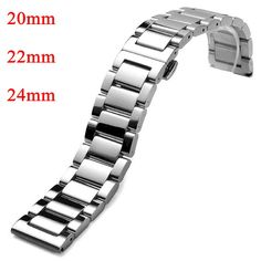 20mm 22mm 24mm Watchband Silver Stainless Steel Solid Links Deployment Buckle Men Band Strap Bracelet for Male Wrist Watch #Affiliate