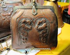 1920s leather tooled purse