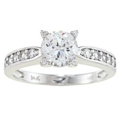 Alyssa Jewels 14k White Gold 1 1/2ct TGW Round/ Baguette Clear Cubic Zirconia Engagement-style Ring (Size 12.5), Women's