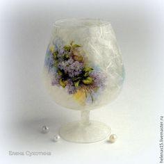 Купить Комплект Сирень Тарелка-блюдо, ваза-подсвечник Декупаж - сиреневый, белый, тарелка