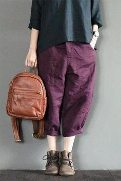 Purple Linen Turnip Pants Simple Causel Trousers Women Clothes