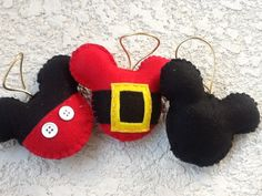 Excited to share the latest addition to my #etsy shop: Mickey mouse felt ornament Merry christmas set of 3 http://etsy.me/2iImg4N #housewares #homedecor #christmas #felt #red #ornament #gift #tree #holiday