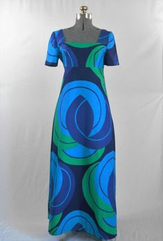 Maxi Dress/ Vintage 1960's Psychedelic/ Kaisu by AtomicKittenRetro