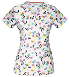 """""""Flutter Around"""" in this cute Code Happy print top! Find it at The Uniform Outlet!"""