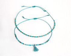 Chamane - Duo de bracelets fins en perles miyuki delica et pompon esprit boho - Turquoise, vert, argenté