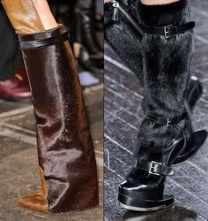 Fur knee high boots | Givenchy and Alexander McQueen, F/W '12