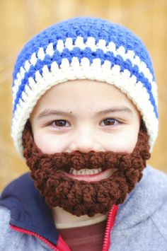I could totally crochet this awesome bearded hat.
