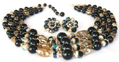 Japan Black Gold AB Art Bead Necklace Earring Set- Stunning Rich Set!