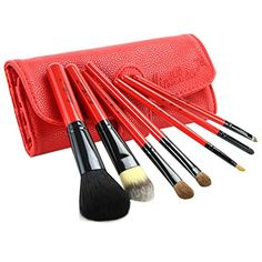 Beginner 7Pcs Red Portable Cosmetic Brush Kit Makeup Brushes SetRed Case >>> To view further for this item, visit the image link.