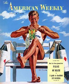 An illustration of a life guard knitting on the cover of American Weekly magazine, July 6, 1952.