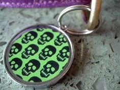 Green and Black Skull Pet Id Tag >>> Want additional info? Click on the image.