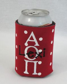 Monogrammed Can Koozie Red With White Polka by DeerpathDesigns.etsy.com