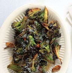 Broccoli Strascinati. Very easy. Very good. Be careful not to add too much crushed red pepper though. Oops.. mine was pretty spicy.