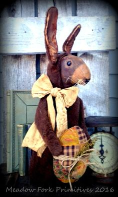 Primitive Folk Art OOAK Reuben Rabbit-Easter-Spring-Stump Doll-Easter Egg-Farmhouse, Vintage, FAAP, Hafair Team by MeadowForkPrims on Etsy