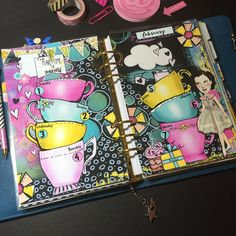 Artful planner pages. Love the contrast and use of the teacups to journal in. Planner Pages, Weekly Planner, Weekly Spread, Teacups, Art Journals, Digital Scrapbooking, Contrast, Artsy, Homemade