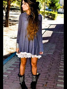 Loose/Flowy Sweater + Lace Skirt/Dress + Black Moto Boots