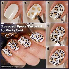 Find trendy DIY nail art tutorials for all skill levels. Now you can learn how to get creative manicured nails with step-by-step DIY nail art picture guides. Cheetah Nail Art, Leopard Print Nails, Leopard Spots, Cheetah Nail Designs, Nail Art Diy, Easy Nail Art, Gel Nail Art, Nail Polish, Nail Nail