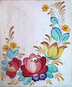 Tole Painting Saree Painting Designs, Painting Patterns, Folk Art Flowers, Flower Art, Pintura Tole, Rosemaling Pattern, Norwegian Rosemaling, Art Decor, Decoration