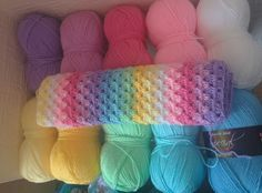stylecraft special dk in: Wisteria, Clematis, Fondant, Candyfloss, White, Lemon, Citron, Spring green, Sherbet, Cloud blue in that order.