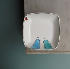 Ceramic blue birds in love square tray wedding by catherinereece, $18.00