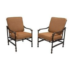 Hampton Bay Niles Park Patio Lounge Chairs with Cashew Cushions (2-Pack) S2-AHH01500 at The Home Depot - Mobile