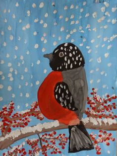 Like the idea of incorporating the NY state bird. Winter Art Projects, Cool Art Projects, January Art, Easy Art For Kids, 2nd Grade Art, Bird Quilt, Art Drawings For Kids, Learn Art, Painting For Kids