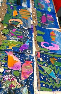 Under the Sea: The David Lubin Art Studio Kindergarten Art, Preschool Art, Classe D'art, 3rd Grade Art, School Art Projects, Sea Art, Spring Art, Art Lessons Elementary, Art Lesson Plans